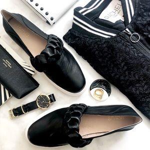 Rachel Zoe Black Leather Braided Slip On Sneakers